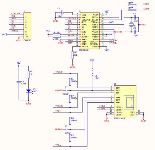 ethernet_ENC28J60_schemat